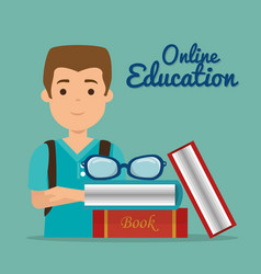 young man with education online supplies vector image