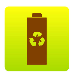 battery recycle sign brown vector image vector image