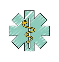 caduceus medical shield vector image