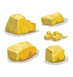 Cartoon golden ore or stone for game design Set vector image