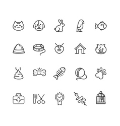 Pet Outline Icon Set vector image