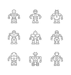 set line icons of robot vector image vector image
