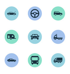 set of simple automobile icons vector image