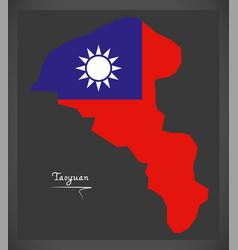 taoyuan taiwan map with taiwanese national flag vector image