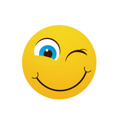 yellow smiling cartoon face winking positive vector image vector image