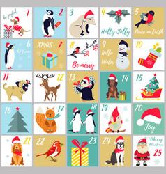 christmas advent calendar winter holidays poster vector image
