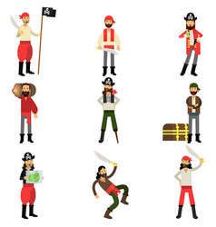 collection of flat cartoon pirate characters in vector image