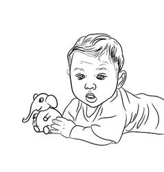 Drawing of male baby playing elephant toy vector image vector image