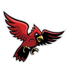 flying cardinal bird vector image vector image