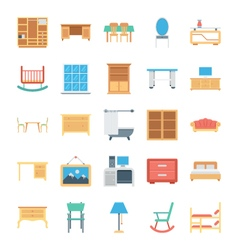 Furniture Colored Icons 3 vector image