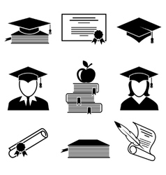 Graduation and education icons vector image vector image