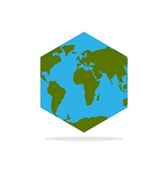 Hexagonal Atlas of earth World map with continents vector image vector image