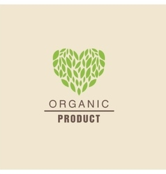 Leaf Heart Above Text Organic Product Logo vector image