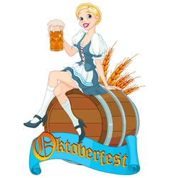 Oktoberfest girl on the keg vector image vector image