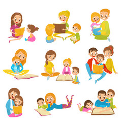 parents reading books to they kids together set vector image