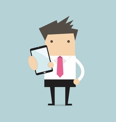 Business man show smart phone vector image vector image