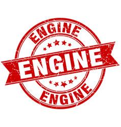 engine round grunge ribbon stamp vector image vector image