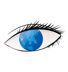 Planet in eye vector image