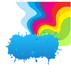rainbow and cloud with water drops vector image