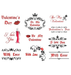 Valentines Day calligraphic elements and symbols vector image vector image