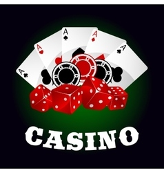 Casino icon with dice chips and poker aces vector image vector image