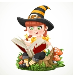 Cute little girl witch sitting on a tree stump and vector image vector image