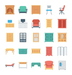 Furniture Colored Icons 4 vector image