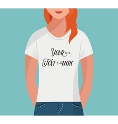 Girl with t-shirt flat mock up template vector image