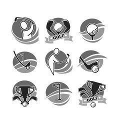 Golf game logotypes in grey color set isolated on vector