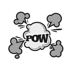 pow comic bubble sound balst cloud cartoon vector image