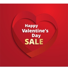 Red ribbon Heart Valentines Day greeting card vector image vector image