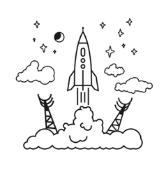 Start of the rocket in clouds vector image
