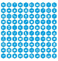 100 dog icons set blue vector image