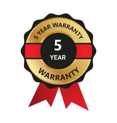 5 year warranty badge warranty certificate yea vector