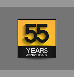 55 years anniversary in square yellow and black vector
