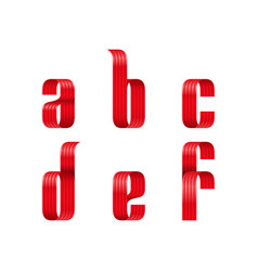 a b c d e f lowercase letters font from red vector image