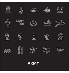 army editable line icons set on black vector image