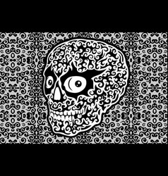 art with decorative white skull on gray background vector image