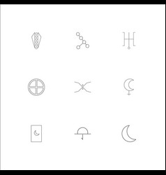 astrology outline icons set vector image