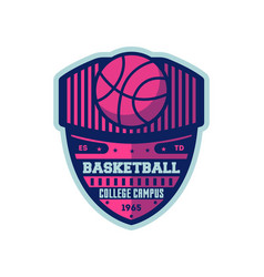 Basketball college campus vintage label vector