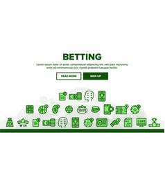 Betting football game landing header vector