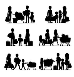 black silhouettes people groups doing shopping vector image
