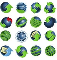 blue balls and green arrows vector image vector image