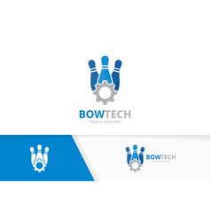 bowling and gear logo combination game and vector image