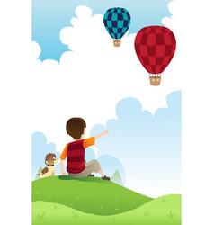 boy and dog watching balloons vector image