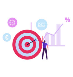 Businessman stand at huge target with arrow in vector