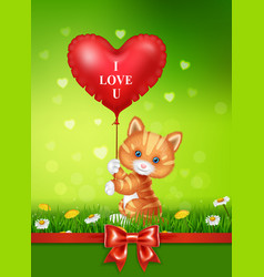 cartoon cat holding red heart balloons with red sa vector image