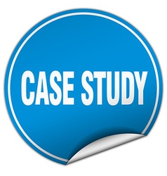 Case study round blue sticker isolated on white vector