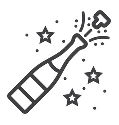 Champagne bottle pop line icon new year vector