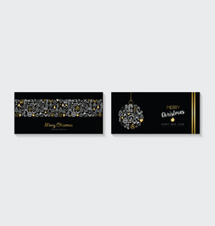 christmas and new year gold line icon banner set vector image